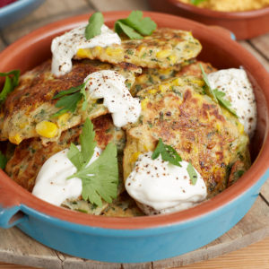 Fearne Recipe Corn Fritter Honey Yoghurt